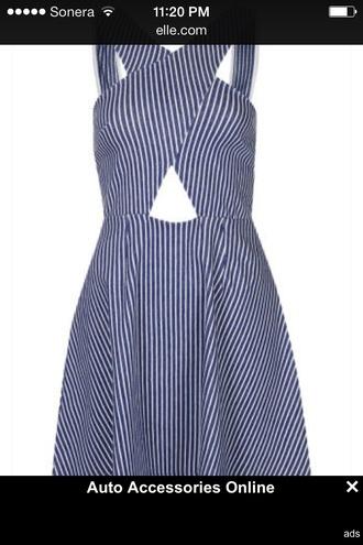 dress summer dress pin strip cut-out dress striped dress