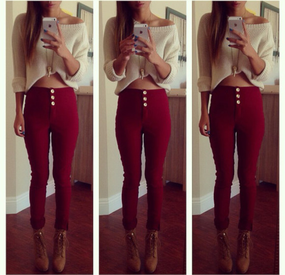 jeans burgundy high waisted pants three buttons knitted sweater shoes