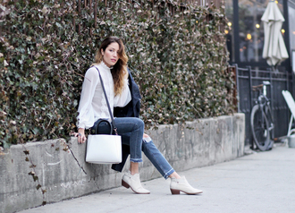 the marcy stop blogger jacket jeans blouse bag shoes white blouse ankle boots handbag spring outfits