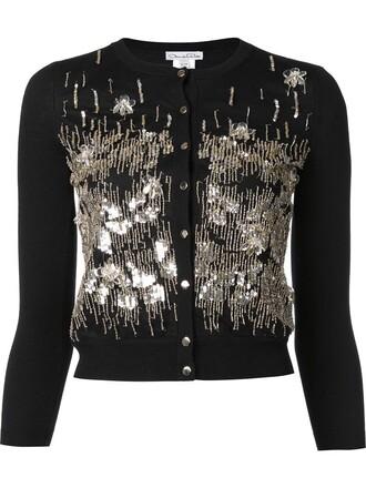 cardigan embroidered women black wool sweater