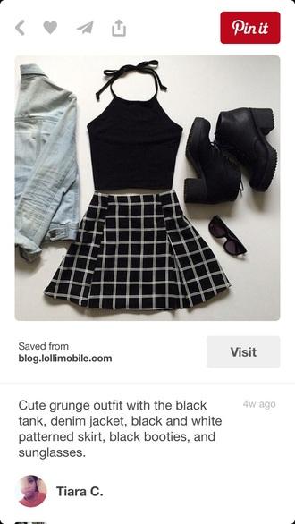 skirt black white cute plaid pleated skirt cute outfits crop tops black crop top halter top halter neck skater skirt circle skirt