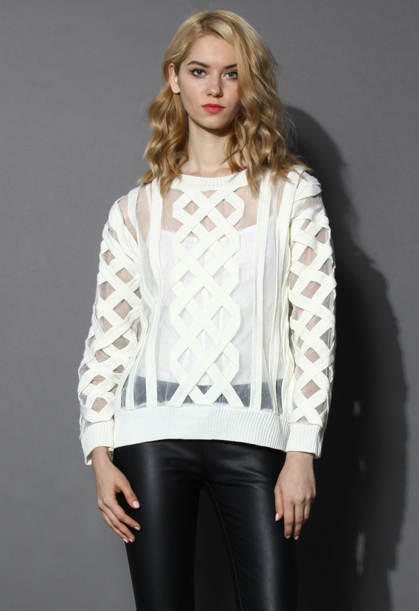 chicwish see through sweater off-white cable knit