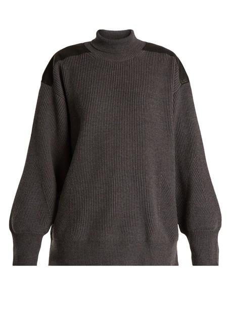Stella McCartney sweater wool sweater oversized leather wool dark grey