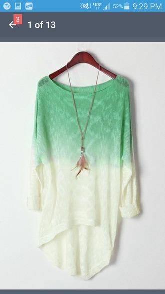 sweater green teal white ocean long knitwear pattern faded lighter