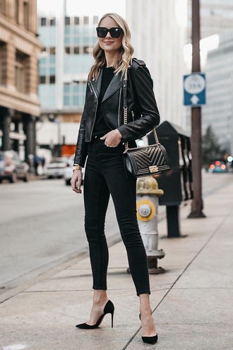 fashionjackson blogger jacket sweater jeans shoes bag sunglasses jewels chanel bag winter outfits leather jacket pumps high heel pumps black pants all black everything