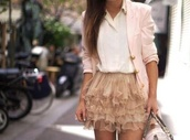 jacket,pale pink blazer,skirt,gold skirt,vest,blouse