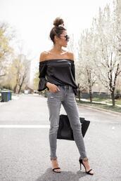 hello fashion,blogger,top,shoes,sunglasses,bag,grey jeans,black sandals,black top,off the shoulder,off the shoulder top,jeans,sandals,sandal heels