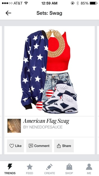 shoes jordans red american flag swag yesstyle gold gold body chain bag shorts shirt jewels sweater