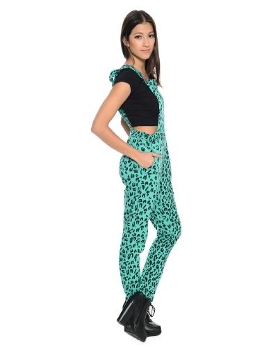 Lethalbeauty ? aquamarine leopard print jumpsuit