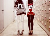 pants,zip,swag,black and white,sweater,mickey mouse,red,girl,hoodie,mickey and minnie tee,disney,jacket,band t-shirt,mickey mouse sweater,boots,black jeans,minnie mouse,minnie mouse jacket,mickey mouse hoodies,bff,white red,mickymouse,blouse,birthday