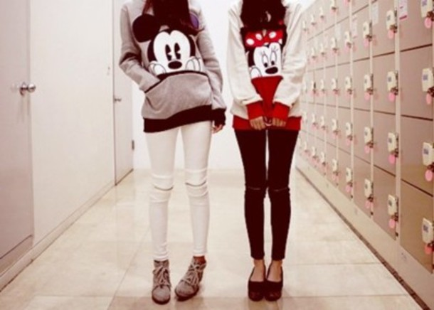 sweater mickey mouse red girl hoodie mickey and minnie tee disney pants zip swag black and white minnie mouse
