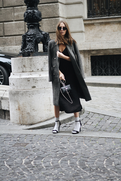 fashion and style blogger shoes socks dress coat bag sunglasses winter outfits grey coat black dress midi dress sandals high heel sandals