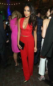 pants,top,red,shay mitchell,shoes