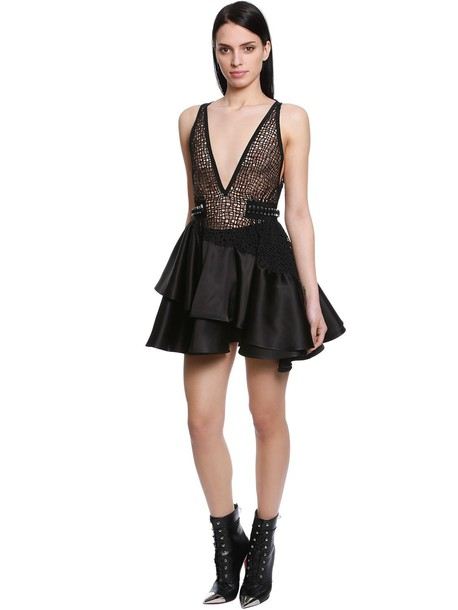 DAVID KOMA Ruffled Macramé & Satin Mini Dress in black