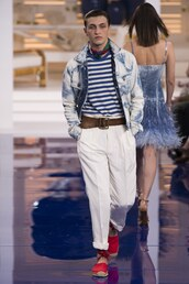 pants,model,ny fashion week 2018,fashion week,anwar hadid,mens jacket,mens pants,stripes,ralph lauren