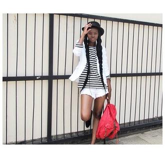 hat bag blazer shorts