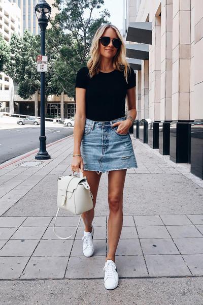 fashionjackson blogger skirt shoes bag sunglasses sneakers denim skirt summer outfits