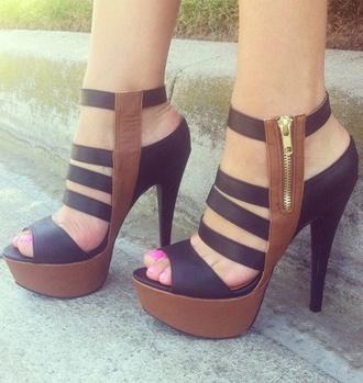 shoes high heels pumps navy brown sandal heels heels sandals straps platform high heels triple ladder heels brown & black strappy heels black & brown colour block size8.5 black black dress