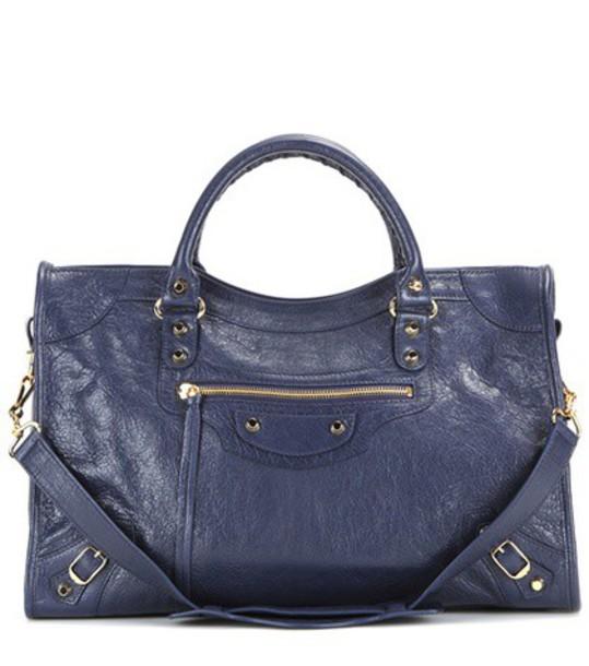 Balenciaga Classic City Leather Tote in blue