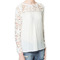 Womens crew neck crochet lace stitching long sleeve chiffon shirt blouse dym38 | ebay