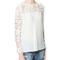 Womens crew neck crochet lace stitching long sleeve chiffon shirt blouse dym38   ebay
