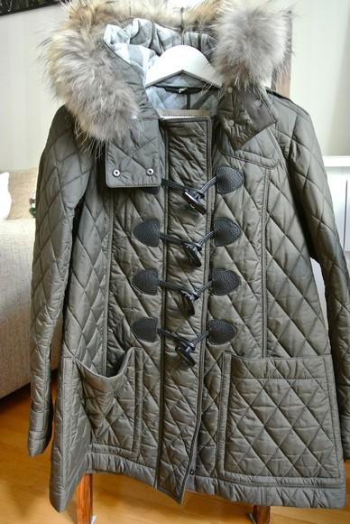duffle coat toggle coat winter coat khaki green fur trim hood winter jacket