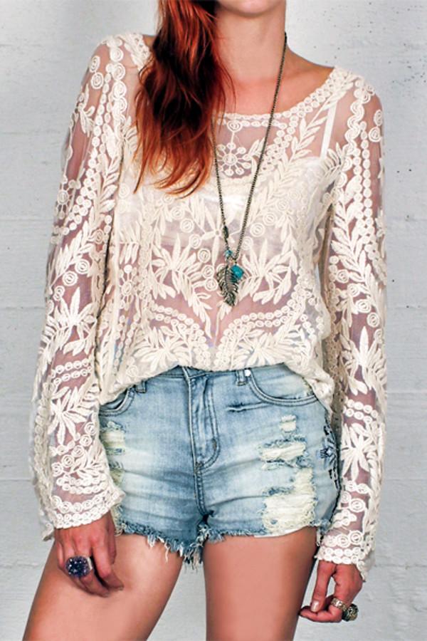 blouse crochet top lace mesh lace mesh top cream blouse long sleeve lace top blogger trendy trendy fashion