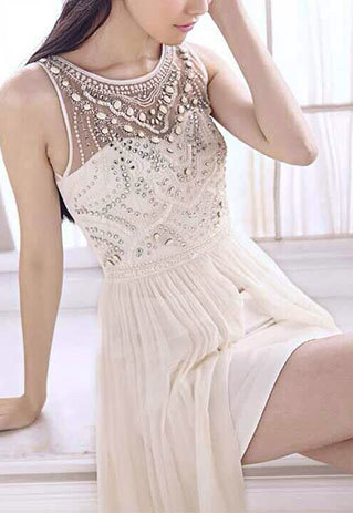 shopbazar shopping mall — [grzxy6601646]Bridesmaid Sequin Beaded Embellished Asymmetric White Maxi Evening Dress