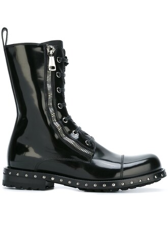 women boots leather black shoes