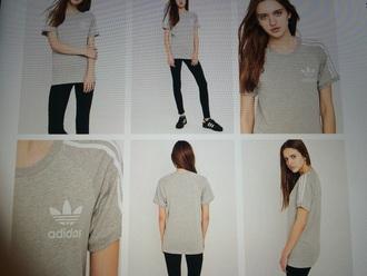 t-shirt adidas adidas originals grey grey t-shirt white stripes