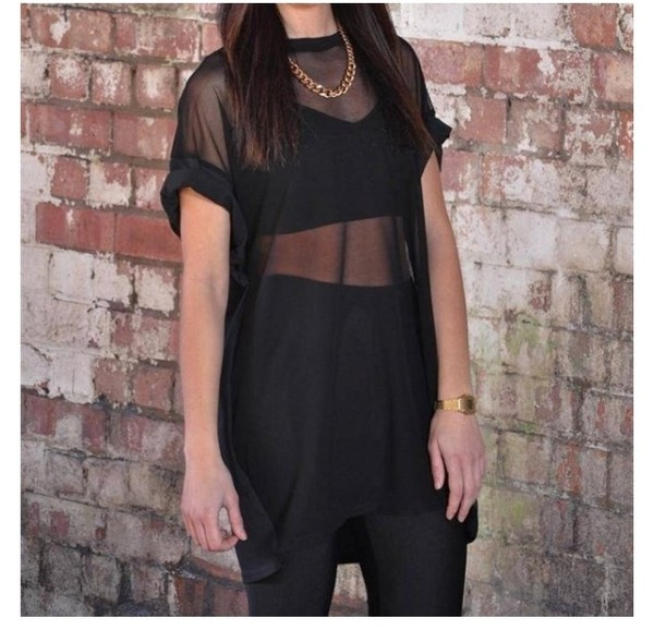 Black Dress Mesh Front Mesh Front t Shirt Dress