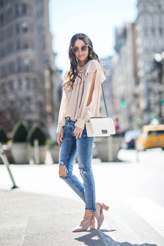 something navy blogger top jeans shoes bag sunglasses blouse spring outfits chanel bag mid heel pumps