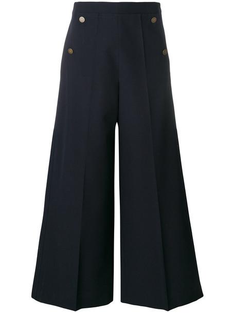 Valentino pants palazzo pants high women spandex blue wool
