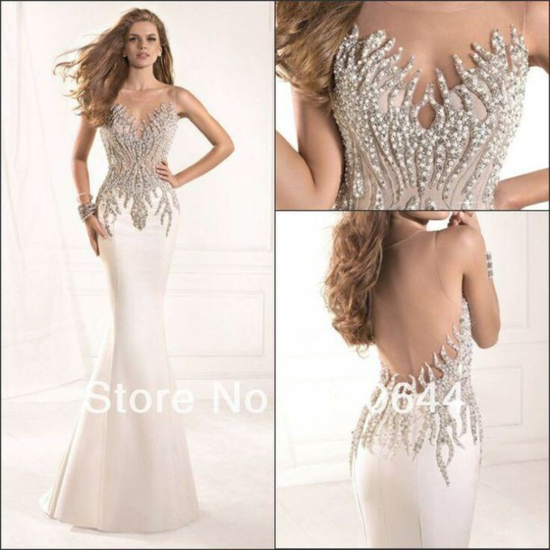 dress nude prom dress long dress bedazzled dress nude dress beaded dress