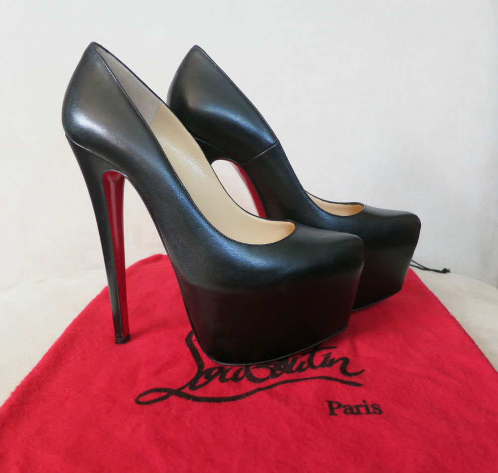 New Christian Louboutin Daffodile Black Leather Platform Pumps 160mm 35 5 5 5 | eBay