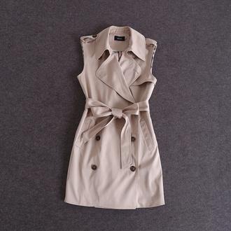dress trench coat beige button double tie front
