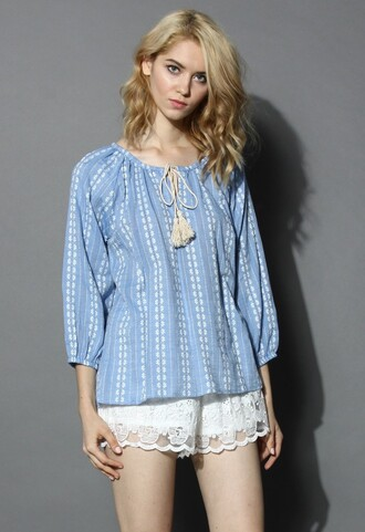 chicwish top daisy embroidered blue top daisy embroidered