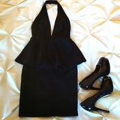 dress,sylvi label,black dress,halter dress,peplum dress