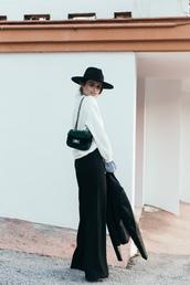 pants,tumblr,black pants,wide-leg pants,sweater,white sweater,hat,black hat,felt hat,bag,green bag,velvet,chain bag,jacket,black jacket,leather jacket,black leather jacket