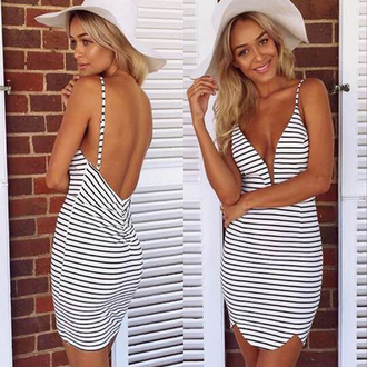 dress stripes tight sexy summer casual lowback low-back white black