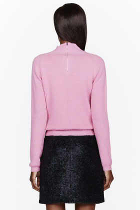 CARVEN Pink Knit Angora Turtleneck for women | SSENSE