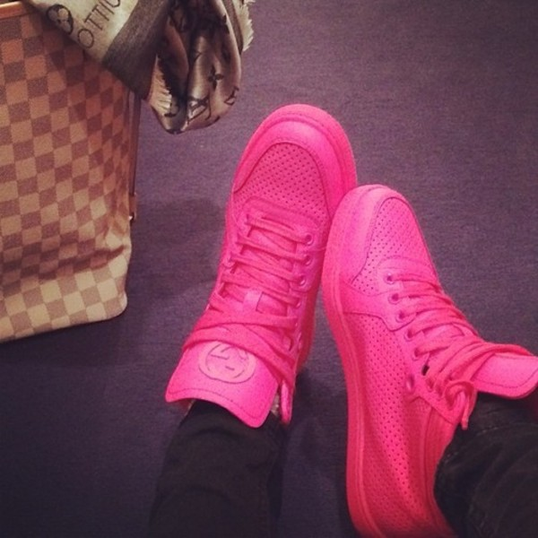 Shoes pink pink shoes sneakers gucci hot pink pink sneakers - Wheretoget