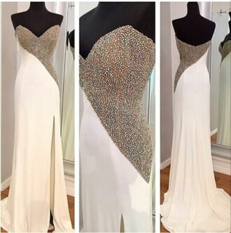 dress white dress prom dress embelished dress diamante dress