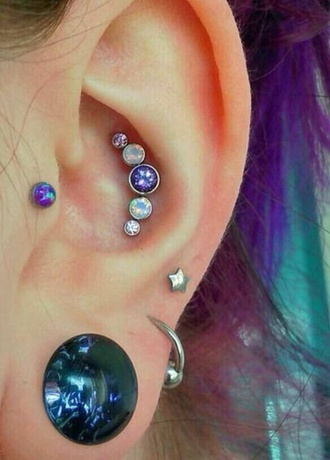 jewels piercing jewels earings fashion grunge jewelry tattoo tumblr style earrings purple hipster purple grunge stars grunge hip studs ear piercings ear plug holographic jewelry gold body jewelry body chain
