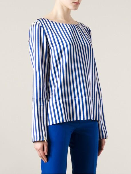 shirt striped long sleeve top top striped shirt srtipes blue white marni