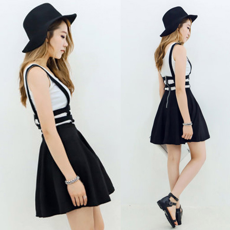 Summer 2014 women new fresh fashion vintage preppy style zipper overalls braces cross dungaree dress black white 4231-inDresses from Apparel & Accessories on Aliexpress.com