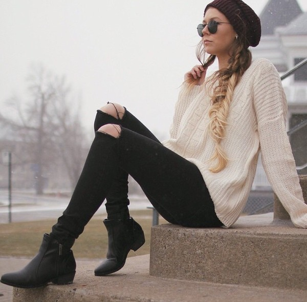 jeans sweater winter sweater winter outfits black jeans black ripped jeans beige beige sweater knitted sweater knitwear torn clothes shoes boots black shoes black boots hat winter hat winter outfits winter outerwear winter out sunglasses cardigan