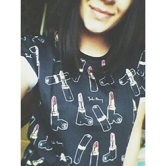 t-shirt yeah bunny lipstick cute girly black red lipstick