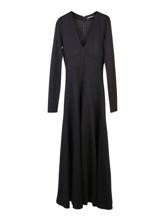 dress long dress long wool black