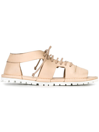 open cut-out women sandals leather nude shoes